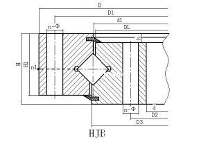 HJB系列无齿式单排交叉滚柱式回转支承