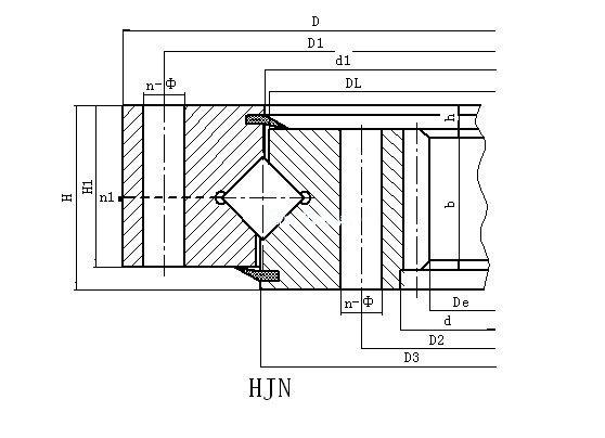 HJN系列内齿式单排交叉滚柱式回转支承